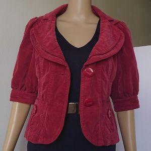 Anthropologie Ett Twa Red Velvet Blazer Size 4